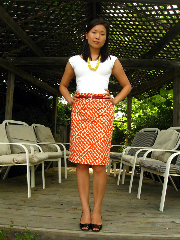 orange skirt Clothed Much: Classy Office Fashion
