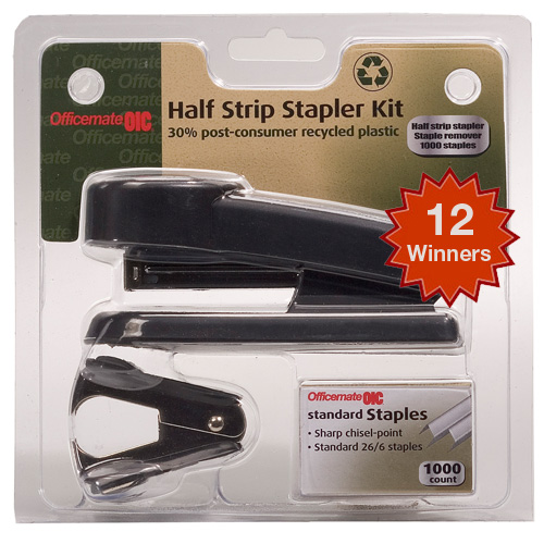 office mate giveaway 12 Recycled OfficeMate Stapler Kits to Win!
