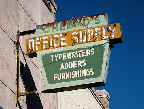 3989563654 8c8c4b59f1 remembering the good days with office supply signs.