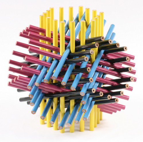 72 Pencils CMYK 499x497 Office Supply Sculptures Straight from Stoney Brook