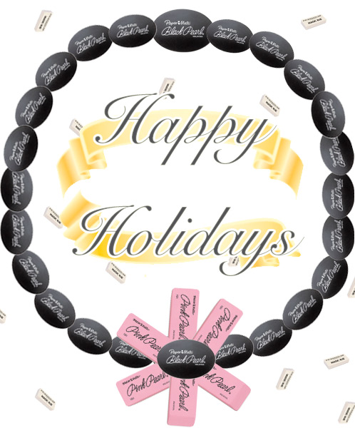 happy holidays erasers Happy Holidays   Love, Shoplet