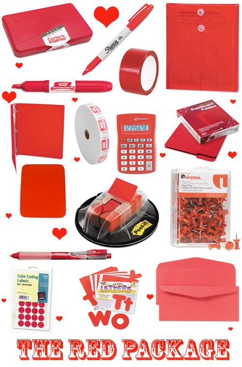 red valentine office supplies Valentines Day Office Supplies Packages