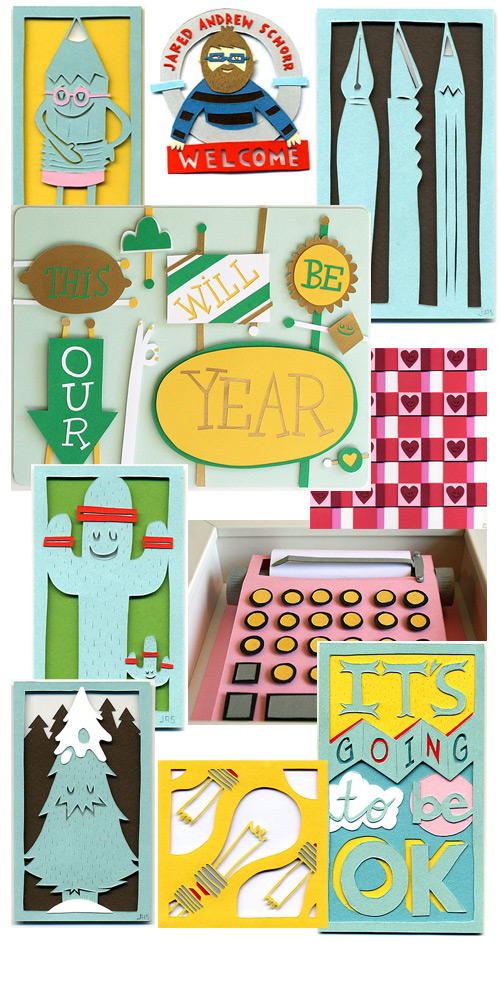 jared andrew schorr paper cut collage cheery paper cuts