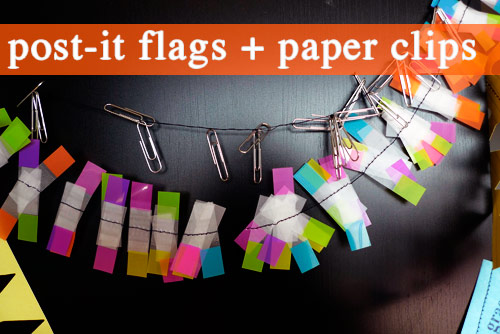 post it flag paper clip garland make your own office garland