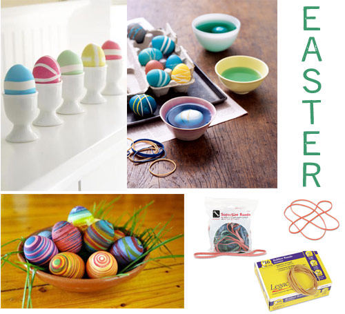 rubber band easter egg dyes dyeing eggs with rubber bands