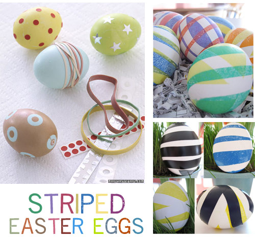 rubber band easter eggs dyeing eggs with rubber bands