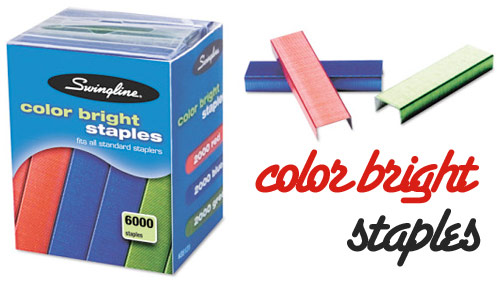 color bright staples Swingline Color Staples