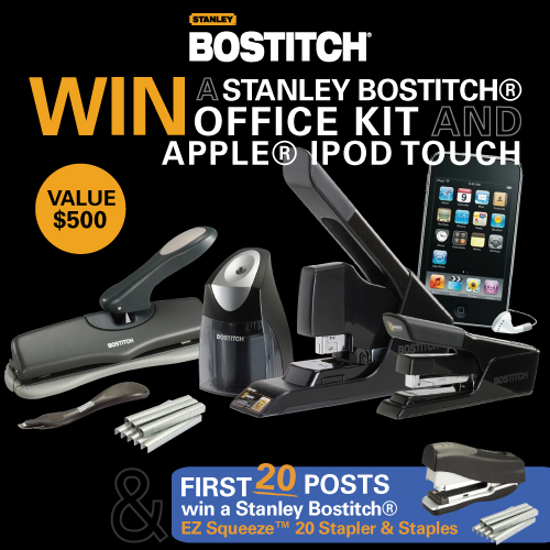 stanley bostitch shoplet giveaway WIN A STANLEY BOSTITCH® OFFICE KIT & APPLE® IPOD TOUCH