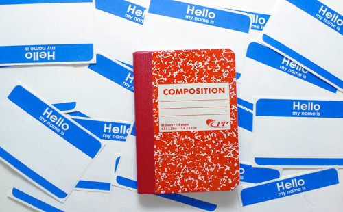 red composition notebook New office supply finds