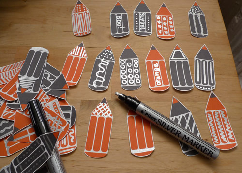 pilot silver marker Printable Orange and Black Pencil Garland