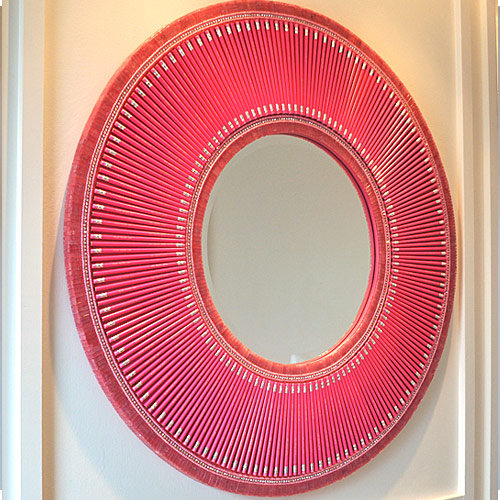 pink pencil mirror frame Gorgeous Mosaic Mirrors Made with Supplies