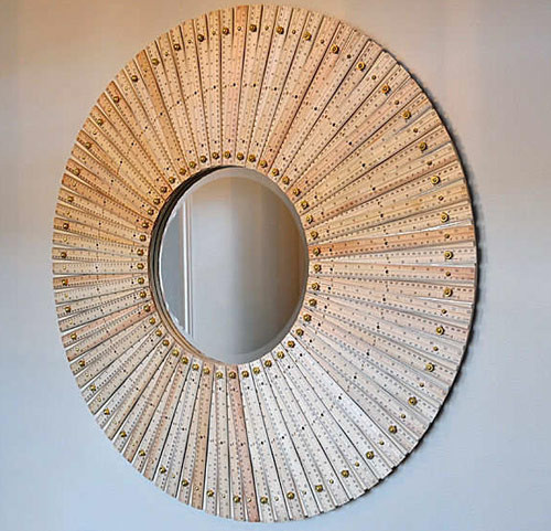 wood ruler mirror frame Gorgeous Mosaic Mirrors Made with Supplies