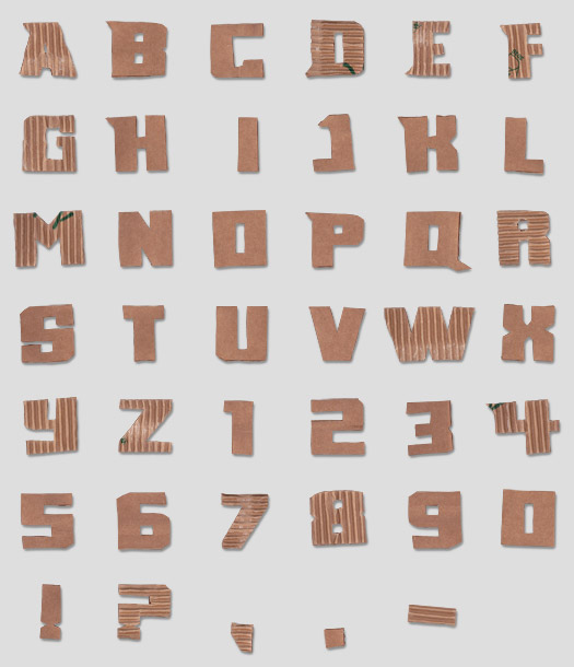 cardboard font Office Supplies Made into Fonts