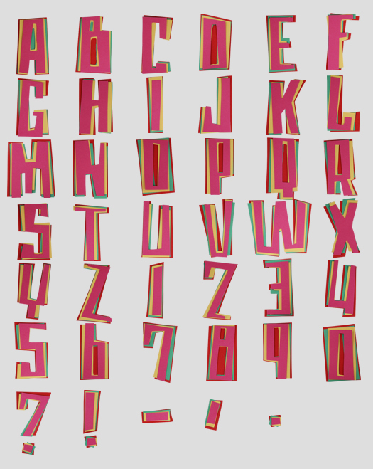 color paper font Office Supplies Made into Fonts