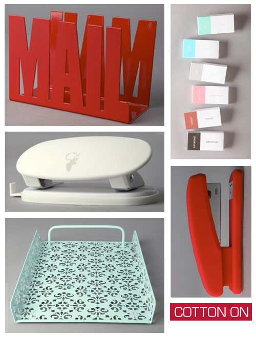 cotton on red and turquoise office supplies Red and Turquoise Office Supplies