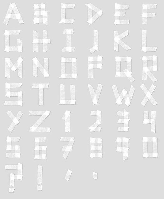 white tape font Office Supplies Made into Fonts