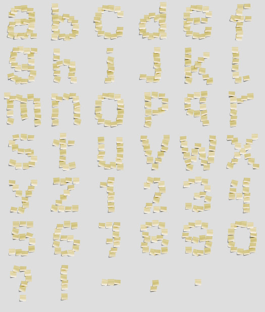 yellow notes font Office Supplies Made into Fonts