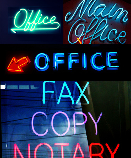 blue neon office signs Neon Office Signs