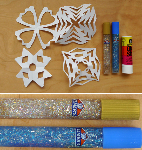 elmers glitter pens Paper Snowflakes + Glitter Paint Pens