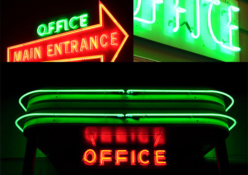 red green neon office signs Neon Office Signs