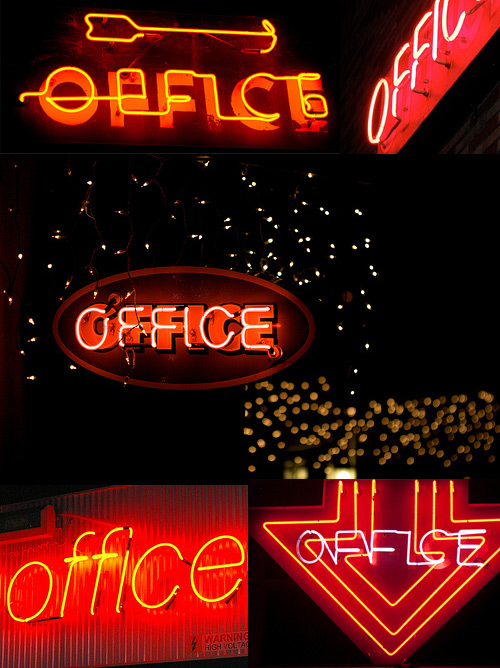 red orange neon office signs Neon Office Signs