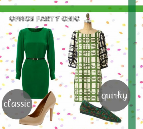 classic vs quirky office party 2 1 500x452 The Holiday Office Party Outfit   Wear Green!