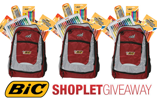 bic backpack shoplet giveaway 3 Bic Backpacks Full of Bic Supplies to Win!