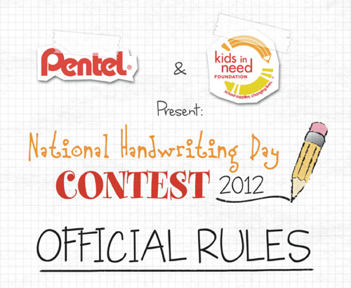 pentel handwriting contest Pentel National Handwriting Day Contest
