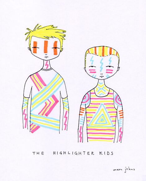 highlighter kids Marc Johns Post it Note Sketches