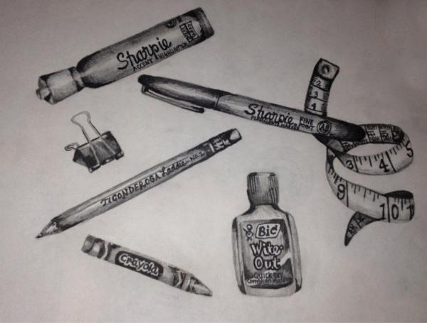 sketched-office-supplies