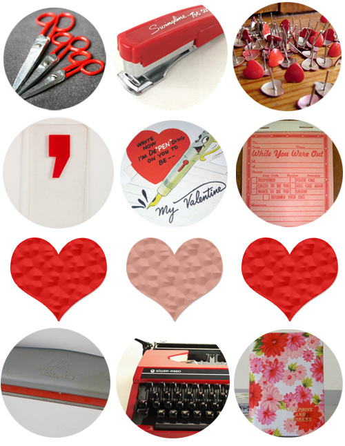 vintage red pink office supplies Happy Valentines Day!