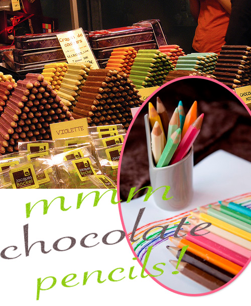 chocolate pencils Crayons de Couleurs en Chocolat