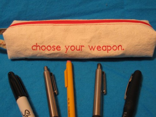 choose your weapon pencil case 500x375 Best of Office Weekend Roundup 90