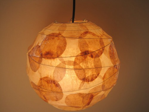 coffee filter hanging pendant 500x375 Recycled Coffee Filter Lamps and Lights