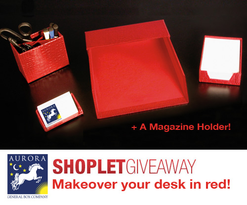 aurora red desk accessories giveaway1 Makeover your Desk in Red Giveaway!