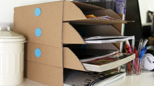 diy cardboard desk organizer 500x281 Best of Office Weekend Roundup 93