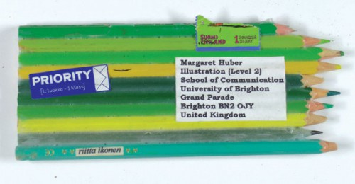 mail art green pencils 500x260 Found Supplies as Mail Art