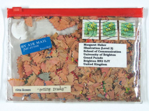 mail art pencil shavings 500x375 Found Supplies as Mail Art