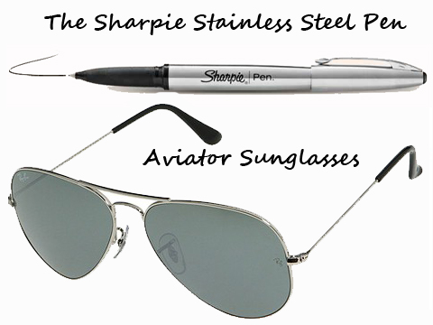 Shoplet Fashionable Office Supplies Sharpie's Stainless Steel Pen and Aviator Sunglasses