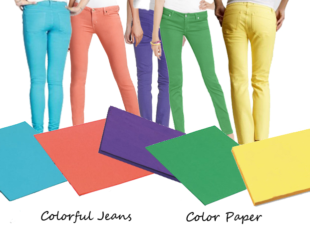 Shoplet Fashionable Office Supplies Color Paper and Colorful Spring Jeans