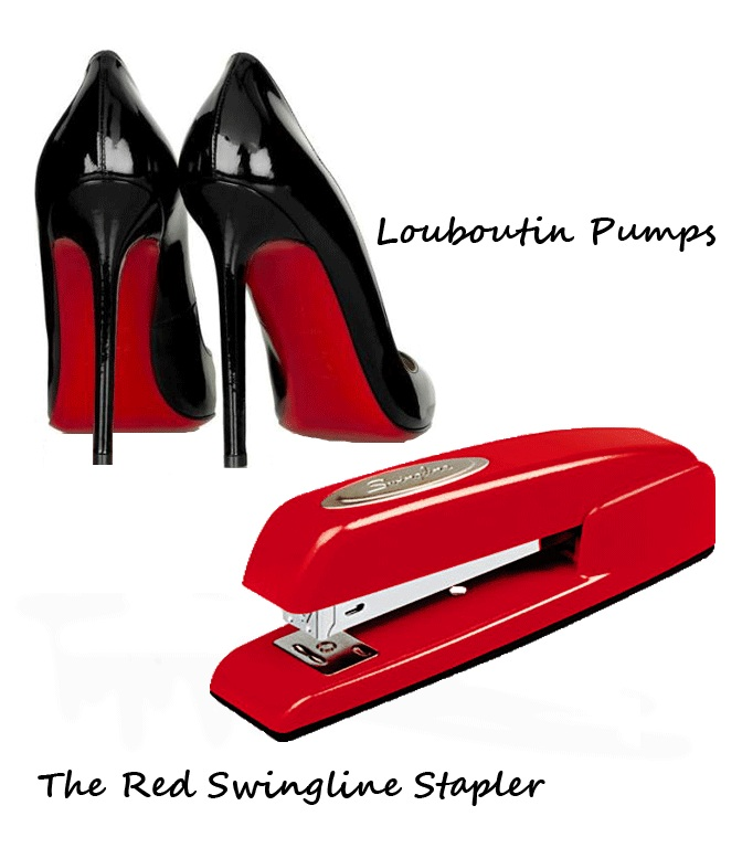 Shoplet Fashionable Office Supplies Red Swingline Stapler and Christian Louboutin Pumps