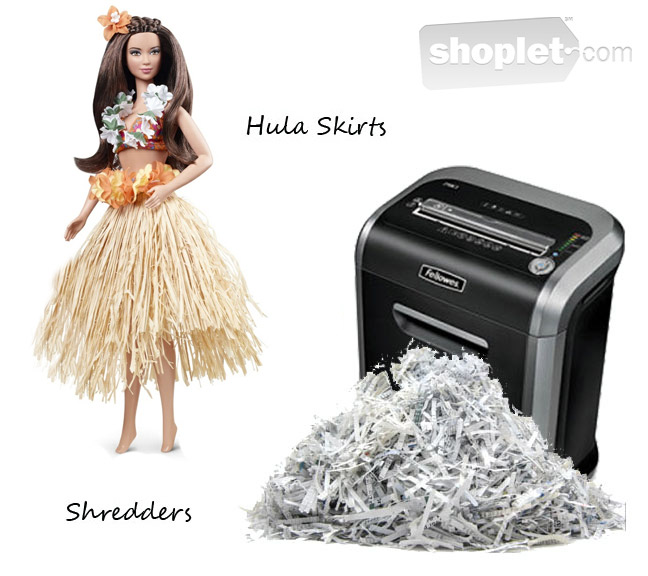 Shoplet Fashionable Office Supplies hula skirt and Fellowes shredder Fashionable Office Supplies