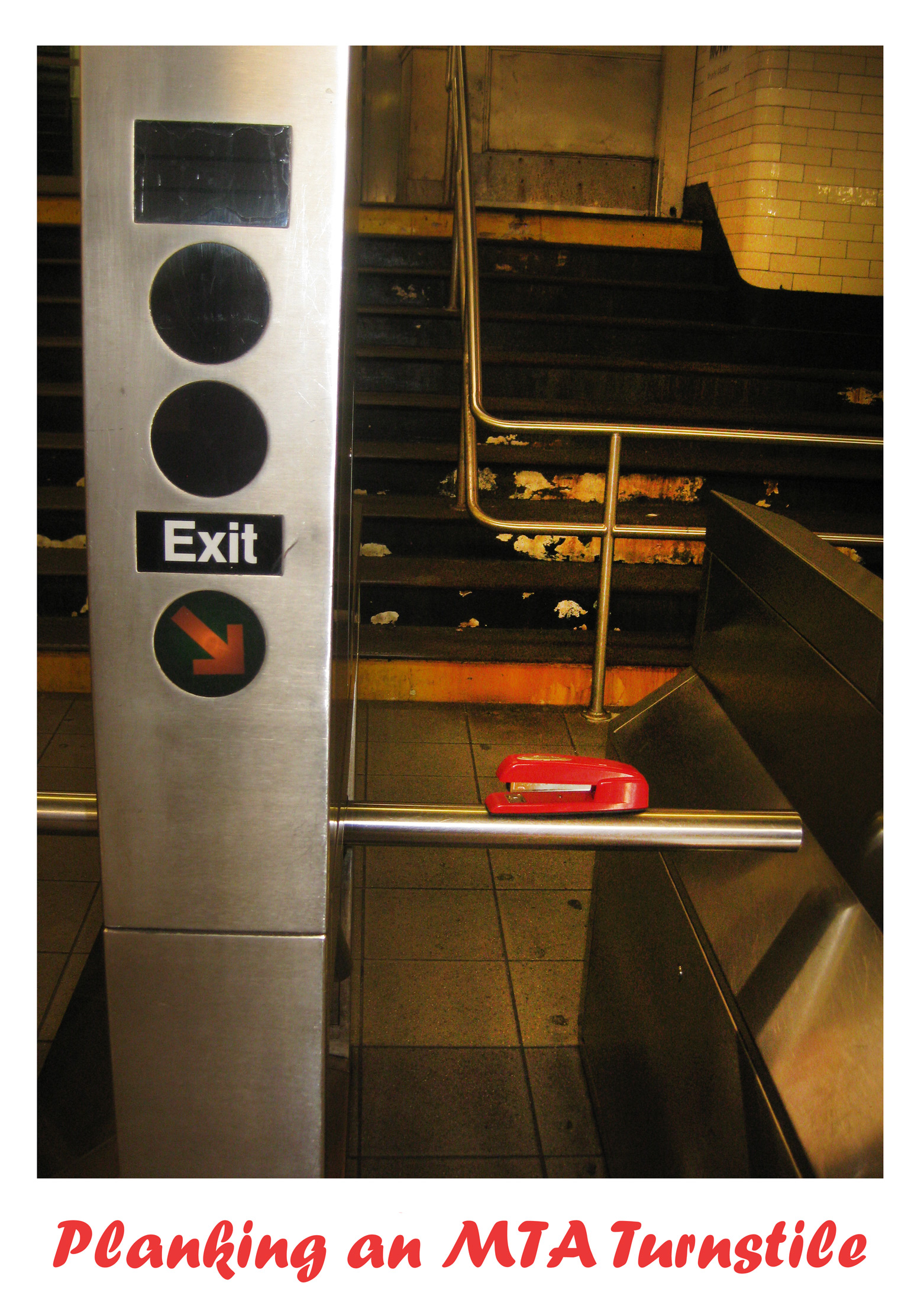 Shoplet Red Stapler Planking MTA Turnstile