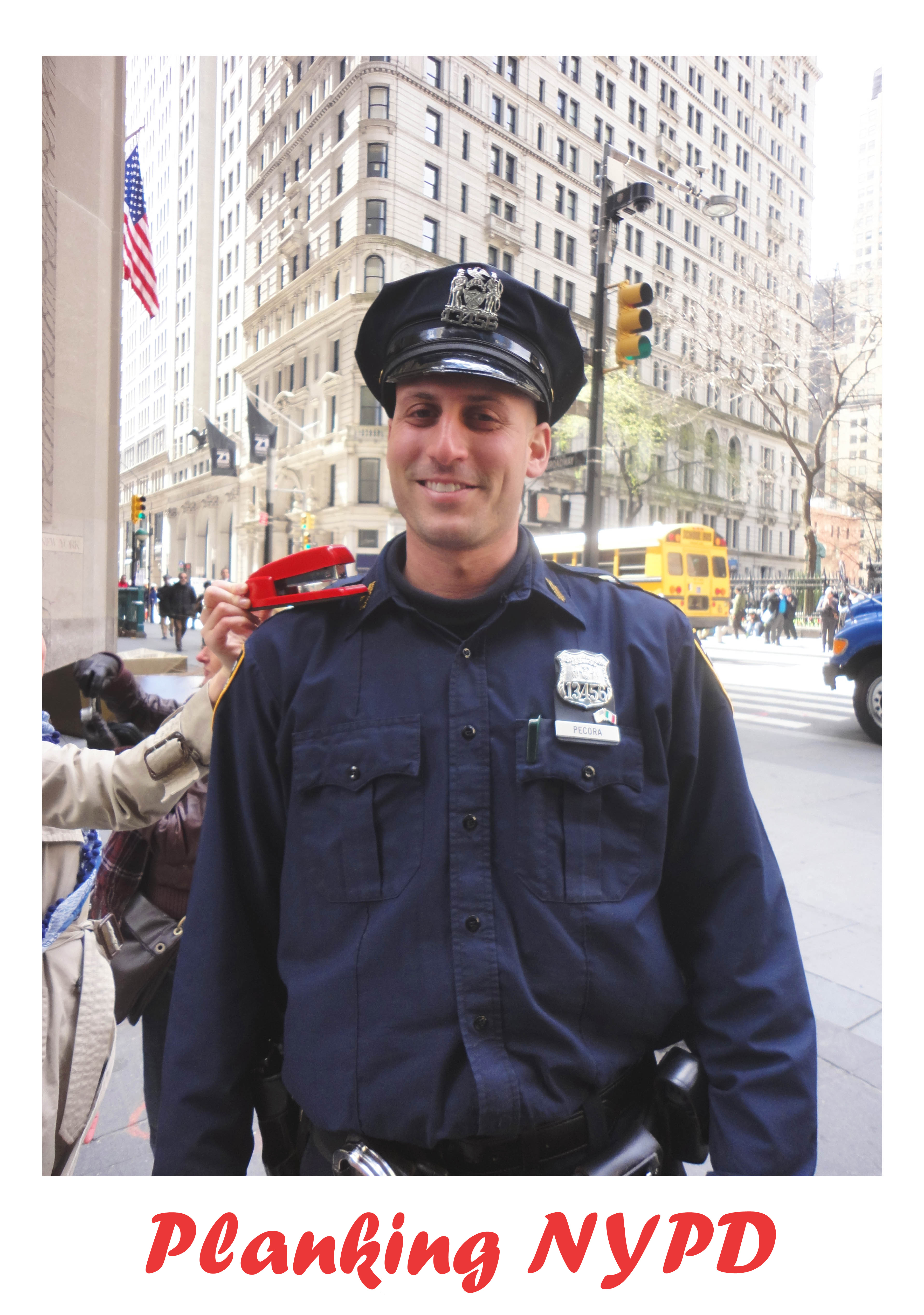 Shoplet Red Stapler Planking Police Officer NYPD The Planking Stapler has Moved!