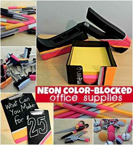 neon color blocked office supplies Best of Office Weekend Roundup 103