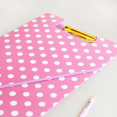 pink polka dot clipboard Best of Office Weekend Roundup 102