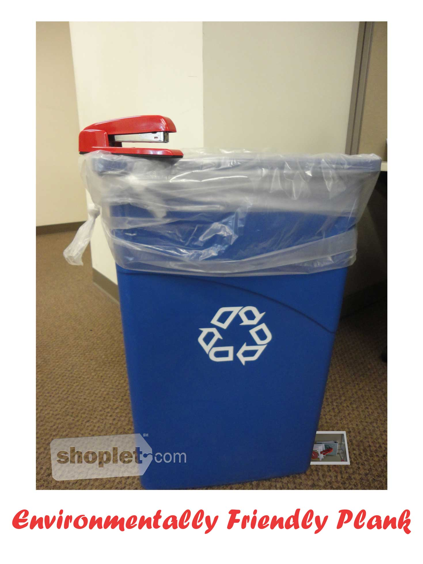 Shoplet Planking Stapler Recycling Bin Shoplet Planking Stapler Planks on Recyclable Garbage Can
