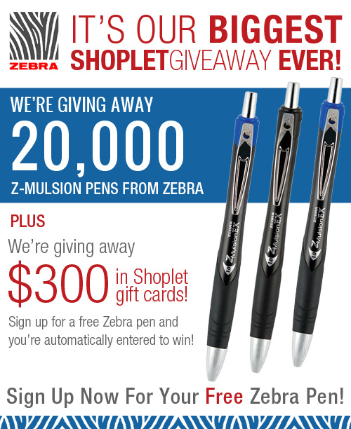 giveaway zebra updated Claim Your Zebra Z Mulsion Pen and Win a Shoplet Giftcard