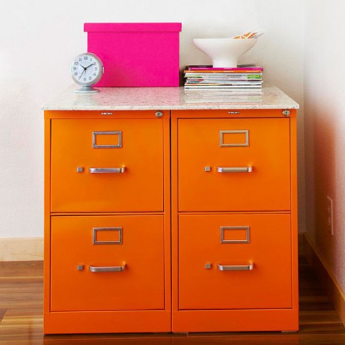 orange file cabinets 500x500 Best of Office Weekend Roundup 111