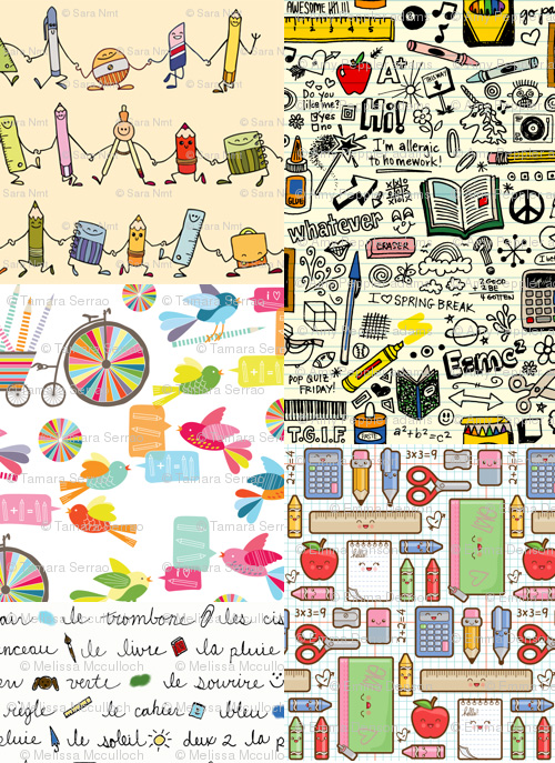 spoonflower school supplies fabric contest Spoonflower School Supplies Fabric Contest